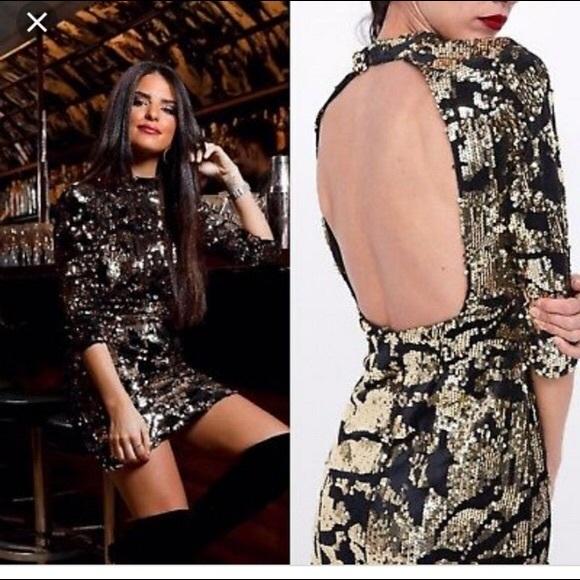 9c61f009 Zara Dresses   Nwt Bloggers Fave Gold Sequin Velvet Dress   Poshmark